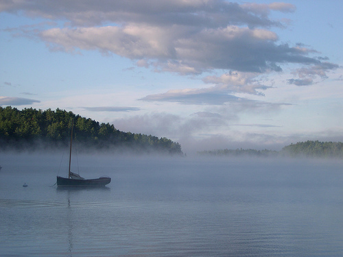 Mists rising on Kezar Lake (c) Mary Flaherty