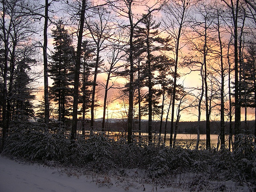 Winter sunset on Kezar Lake (c) Mary Flaherty