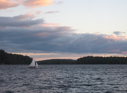 sailing on Kezar Lake, Maine